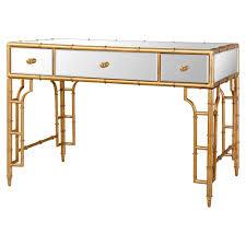 Bamboo Vanity Brigitte Regency Mirrored Antique Gold Bamboo Console Desk Kathy