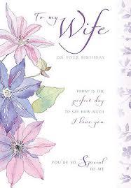 wife happy birthday card pink u0026 purple flower design size 9 00 x