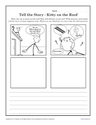 kitty on the roof creative writing prompt worksheet for kindergarten