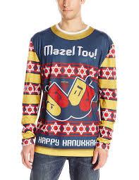 hannukah sweater faux real men s mazel tov hanukkah sweater sleeve t