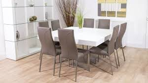 White Dining Room Sets Small Modern Square White Dining Table Design With Grey Leather