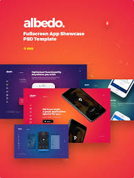 albedo full screen app showcase psd template by themefire