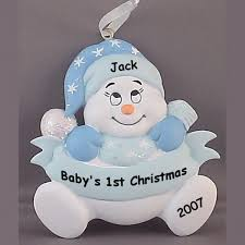 baby ornaments baby blue snowbaby personalized