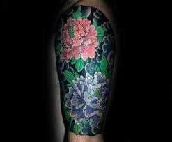 guy with peony flower half sleeve tattoo japanese clouds tattoos