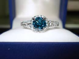 blue diamond wedding rings blue diamond engagement ring 1 32 carat 14k white gold halo