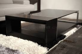coffee table beverly hills espresso w black glass top