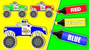 monster jam toy truck videos coloring book compilation police monster trucks learning colors