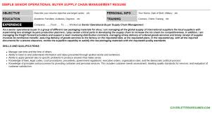 senior operational buyer supply chain management cover letter u0026 resume