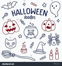 halloween doodle set cute cartoon objects stock vector 320083079