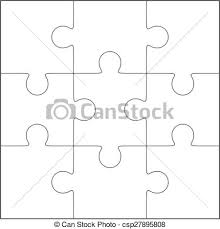 jigsaw puzzle blank template 3x3 jigsaw puzzle vector vector
