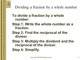 dividing a whole number by a fraction copyright ed2netlearning inc 1 dividing fractions and whole