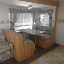 blue seat kitchen table with bench seating corner booth interior