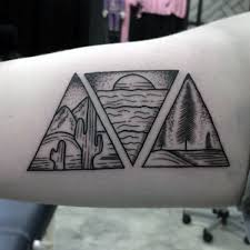 nature based three triangles tattoo on arms tattoos pinterest
