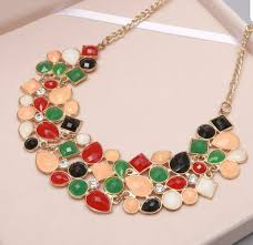coloured statement necklace images Gold coloured statement necklace with red green black and orange jpg