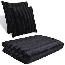 plaid canapé noir couverture fausse fourrure noir avec 2 pcs coussin achat vente