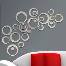 1pc sticker fashion circles mirror style removable decal vinyl art