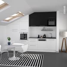 Meuble Sur Hotte Ikea by Cuisine Bicolore Design Blanche Et Meuble Haut Noir