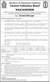 Jobs H M by Vacancies General Manager Coconut Cultivation Boar
