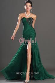 pleated green chiffon strapless dropped waist slit long mermaid