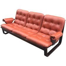 Orange Leather Sofa Scandinavian Laminated Wood And Orange Leather Sofa 1960s For