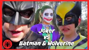 Real Life Halloween Costumes Little Heroes Joker Vs Batman U0026 Wolverine Superheros In Real Life