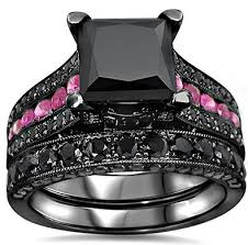 black and pink wedding ring sets pink diamond engagement rings review