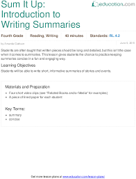 sum it up introduction to writing summaries lesson plan