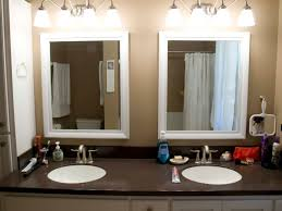 double bathroom mirrors with white painted oak wood frame of