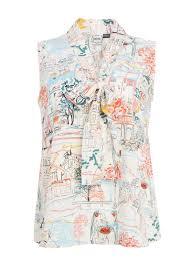 sleeveless tie neck blouse margie print blouse sleeveless top with tie neck joanie