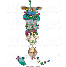 cartoon vector of a man hanging upside down in tangled christmas