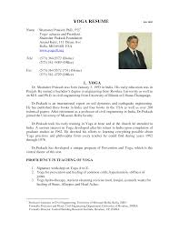 Professor Resume Sample by Yoga Resume Resume For Your Job Application