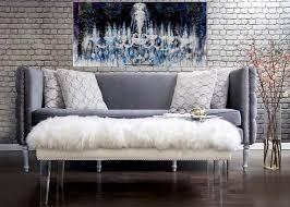 Grey Slipcover Sofa by Velvet Sofa With Nailheads