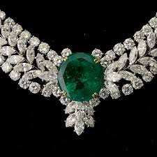 diamond emerald necklace images Emerald diamond platinum 18k yellow gold necklace auction jpg