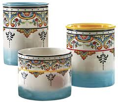 kitchen canisters and jars zanzibar 3 canister set mediterranean kitchen canisters