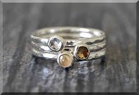 rings for mothers day set of 2 sterling silver birthstone stacking rings swarovski gem