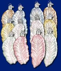 assorted feathers 3 x 4 owc glass ornaments bridal