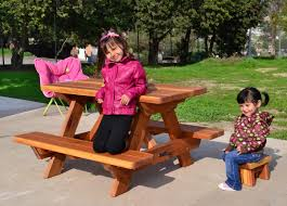 Redwood Picnic Tables And Benches Kid Size Wood Picnic Table With Attached Benches Forever Redwood