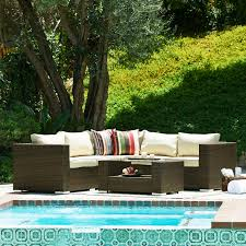 Patio Furniture Sectional Seating - thy hom jicaro 5 piece outdoor wicker sectional sofa set hayneedle