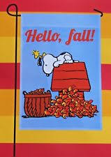 welcome fall snoopy peanuts thanksgiving garden flag 12 x 18 by