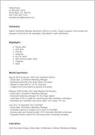 Fashion Resume Templates Professional Fashion Marketing Manager Templates To Showcase Your