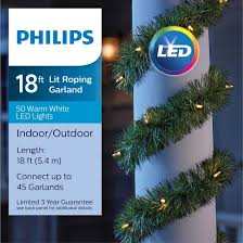 philips 18ft prelit artificial garland warm white led