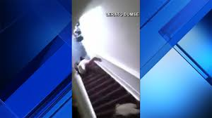 airbnb host seen on camera pushing woman down flight of stairs