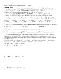 chem worksheet ionic reactions and ksp