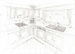 a two point perspective interior sketch my home kitchen