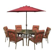 red patio dining sets amalfi rectangular 6 seater dining set with parasol brown u0026 red