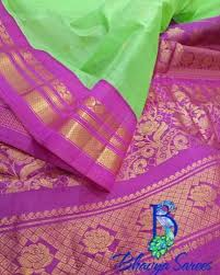 pink combination gadwal sico green with pink combination saree bhavya sarees