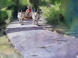 indian cart buy painting bullock cart artwork no 5046 by indian artist sanjay