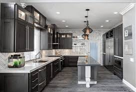 grey wood kitchen cabinets dark grey parquete flooring classic black hanging l white and