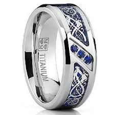 blue titanium wedding band titanium wedding ring band with design blue carbon