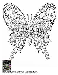 butterfly hearts flowers and butterflies complicated coloring